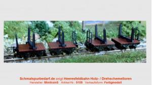 Holzloren der Heeresfeldbahnen, 4 Stück, gebremst