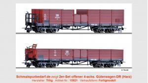 2er-Set offener 4-achs. Güterwagen DR