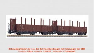 2-er Set ÖBB Hochbordwagen mit Holzrungen