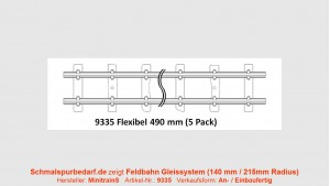 H0e Feldbahngleis, flexibel, ca. 490 mm lang, 5 Stück