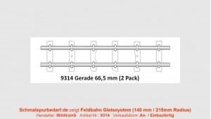 H0e Feldbahngleis, gerade, 66,5 mm lang
