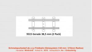 H0e Feldbahngleis, gerade, 38,5 mm lang
