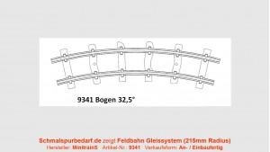 H0e Feldbahngleis, gebogen, 32,5°, 215 mm Radius