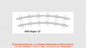 H0e Feldbahngleis, gebogen, 15°, 215 mm Radius