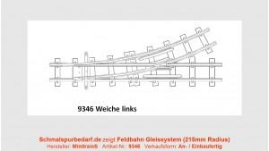 H0e Feldbahnweiche, 27,5°, links, 215 mm Radius