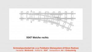 H0e Feldbahnweiche, xx°, rechts, 215 mm Radius