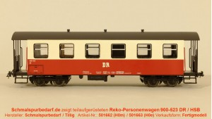 Reko-Personenwagen KB 900-523 DR / HSB // 6-fenstrig
