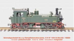 Dampflokomotive sächs. IV K N°.145 SOEG