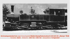 """RhB Mallet-Dampflokomotive G 2/2+G2/3 23 """"Maloja"""""""