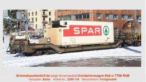 """RhB Sbk-v 7706 mit Kühlcontainer """"Spar"""""""