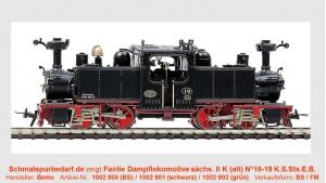Dampflok sächs. II K N°.18 - 19 K.S.Sts.E.B.