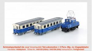 Zugspitzbahn-Set Tallokomotive + 2 Personenwg.